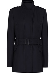 Reiss Belted Military Coat Blue