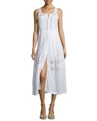 Loveshackfancy Eve Button Down Dress W Lace Insets White