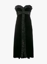 Miu Miu Silk Taffeta Trimmed Ruffle Velvet Dress Black