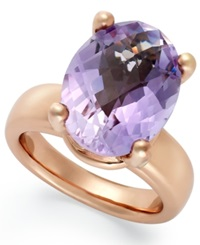 Bronzarte 18K Rose Gold Over Bronze Ring Amethyst Oval Ring 8 Ct. T.W.
