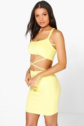 Boohoo Strappy Cut Out Waist Bodycon Dress Lemon