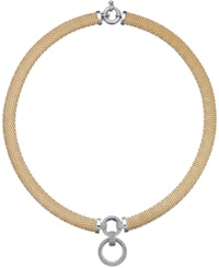 Macy's Diamond Circle Pendant Mesh Necklace In Vermeil And Sterling Silver 3 4 Ct. T.W.