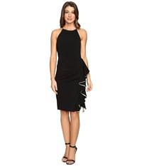 Badgley Mischka Short Ruffle Racer Dress Black Ivory Women's Dress