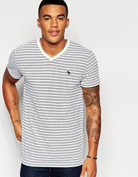 Abercrombie And Fitch Muscle Slim Fit V Neck T Shirt In Navy And Pink Stripe Cc135 Navy And Pink S