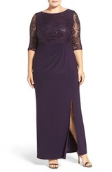 Alex Evenings Plus Size Women's Sequin Lace And Jersey Column Gown