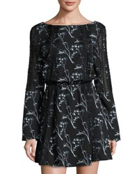 Thakoon Lace Inset Floral Print Dress Black Mult