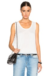 T By Alexander Wang Low Neck Flared Tank In White
