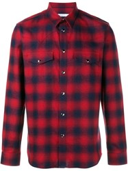 Givenchy Casual Plaid Shirt Red