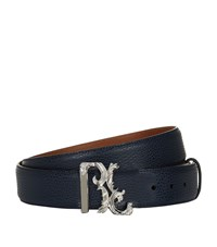 Billionaire Logo Buckle Leather Belt Unisex