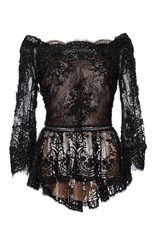 Marchesa Off The Shoulder Beaded Lace Peplum Top Black