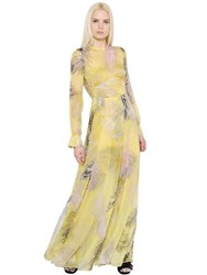 Emilio Pucci Feather Printed Silk Chiffon Dress