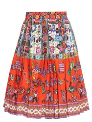Stella Jean Liquidatore Pleated A Line Skirt Red Multi