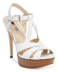 Guess Women's Kymma Strappy Platform Dress Sandals Women's Shoes White