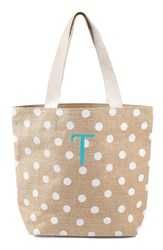 Cathy's Concepts Personalized Polka Dot Jute Tote White White T