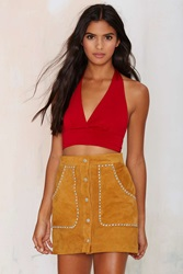 Nasty Gal After Party Vintage Ruby Halter Top