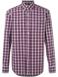 Canali Slim Fit Checked Shirt Pink Purple