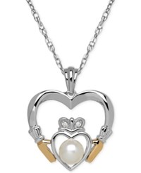 Macy's Cultured Freshwater Pearl 5Mm And Diamond Accent Heart Pendant Necklace In Sterling Silver And 14K Gold