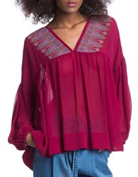 Plenty By Tracy Reese Sheer Peasant Top Red