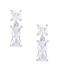 Lord And Taylor Cubic Zirconia Sterling Silver Square Drop Down Earrings