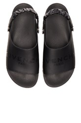 Givenchy Leather Slide Strap Sandals In Black