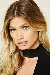 Forever 21 Rhinestone Faux Lip Ring Gold Clear