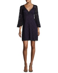 Nanette Lepore Bell Sleeve Floral Lace Mini Dress Eggplant