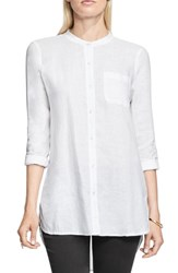 Vince Camuto Women's Two By Collarless Linen Shirt Ultra White