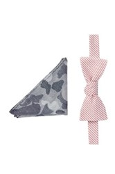 Original Penguin Trevini Stripe Bow Tie Pocket Square Hookrider Set Of 2 Multi