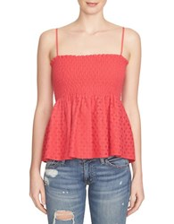 1.State Smocked Lace Tank Top Red