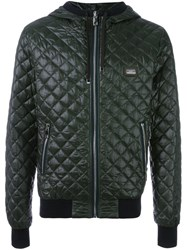 Dolce And Gabbana Quilted Padded Jacket Green