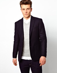 Reiss Jeffery Suit Jacket In Brushed Herringbone Navy