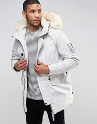 Bellfield Arctic Parka With Faux Fur Trim White
