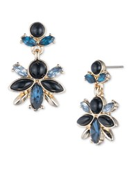 Ivanka Trump Cluster Epoxy And 10K Gold Plated Drop Earrings Blue
