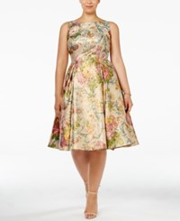 Adrianna Papell Plus Size Brushed Metallic Floral Fit And Flare Dress Gold Multi