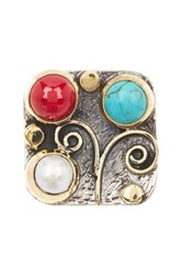 Savvy Cie 18K Gold Plated Sterling Silver 24Mm Cultured White Pearl Turquoise And Coral Square Ring Multi
