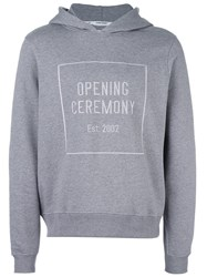 Opening Ceremony Logo Print Pullover Hoodie Grey