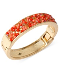 Kenneth Cole New York Gold Tone Coral Mixed Bead Hinged Bangle Bracelet