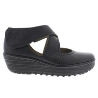 Fly London Rafe Cross Strap Court Shoes Black