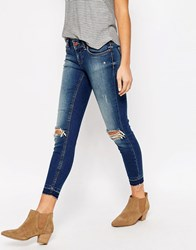 Only Coral Distressed Jeans 30 Leg Dark Blue Denim 30