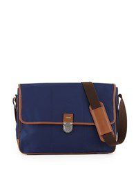 Cole Haan Leather Trim Nylon Messenger Bag Navy