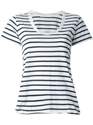 Sacai Luck Scoop Neck Striped T Shirt Blue