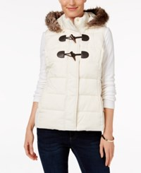 Charter Club Petite Faux Fur Trim Puffer Vest Only At Macy's Vintage Cream