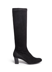 Robert Clergerie 'Passac J' Stretch Suede Knee High Boots Black