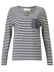 John Lewis Collection Weekend By Stripe T Shirt With Chambray Pocket White Blue