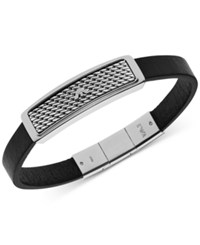 Emporio Armani Men's Stainless Steel And Black Leather Bar Logo Bracelet Egs2139 Silver