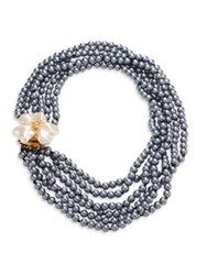 Kenneth Jay Lane 6 Rows Faux Pearl Flower Necklace Grey Multi