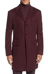 Ted Baker Men's London 'Alaska' Trim Fit Wool And Cashmere Overcoat Dark Red