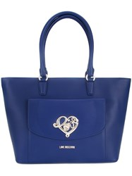 Love Moschino Gold Tone Hardware Shoulder Bag Blue