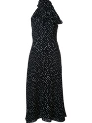 Saint Laurent Polka Dot Maxi Dress Blue