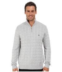 Lacoste Cable 1 4 Zip Cotton Sweater Silver Grey Chine Men's Sweater Gray